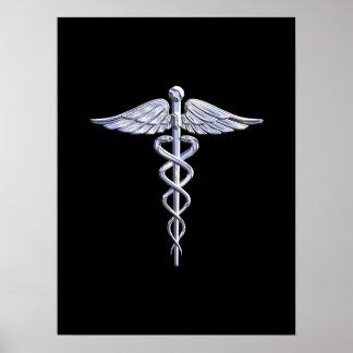 Símbolo médico del caduceo en negro póster
