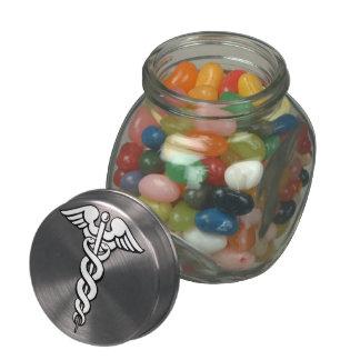Símbolo médico del caduceo jarras de cristal