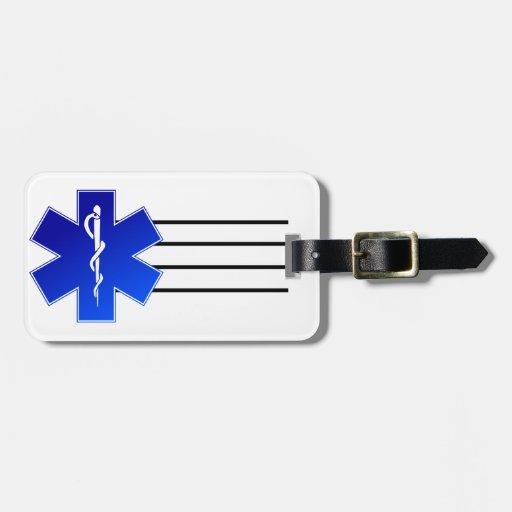 Símbolo médico del ccsme etiquetas de maletas