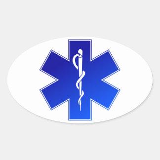 Símbolo médico del ccsme calcomanías ovaladas
