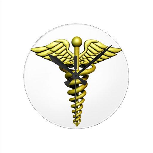 Símbolo médico relojes de pared