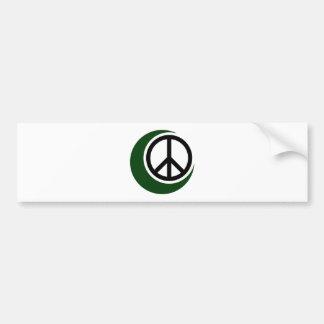 Símbolo musulmán islámico con el signo de la paz pegatina para auto