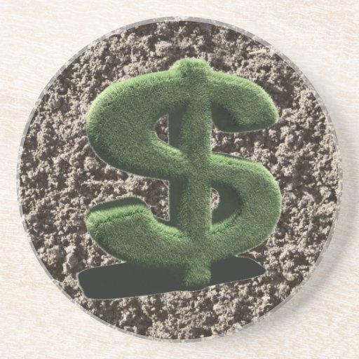 símbolo muy herboso del dólar posavasos diseño