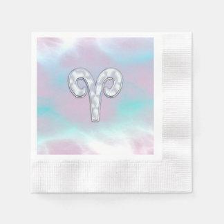 Símbolo nacarado moderno del zodiaco del aries del servilletas de papel