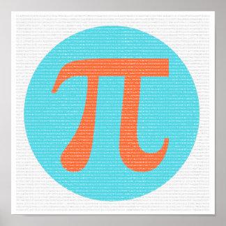 Símbolo, naranja y azul del friki pi de la póster