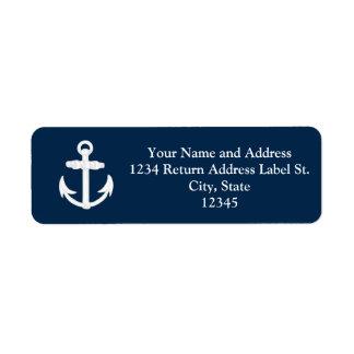 Símbolo náutico blanco/azul del ancla etiquetas de remite
