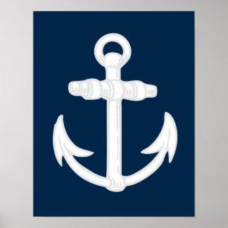 Símbolo náutico blanco/azul del ancla posters