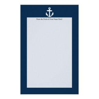 Símbolo náutico blanco/azul del ancla papelería