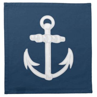 Símbolo náutico blanco/azul del ancla servilletas imprimidas