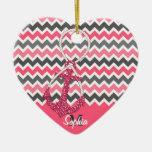 símbolo náutico del infinito del ancla del falso adorno navideño de cerámica en forma de corazón