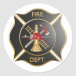 Símbolo negro de la cruz maltesa de los bomberos etiqueta redonda