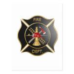 Símbolo negro de la cruz maltesa de los bomberos tarjeta postal