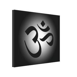 Símbolo negro de OM Lona Envuelta Para Galerías