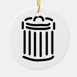 Símbolo negro del bote de basura adorno de navidad
