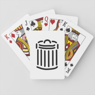 Símbolo negro del bote de basura barajas de cartas