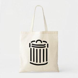 Símbolo negro del bote de basura bolsa tela barata