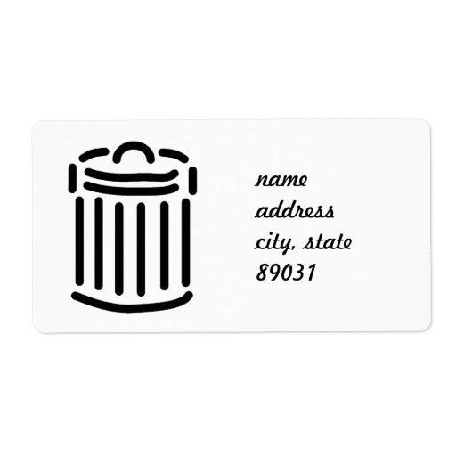 Símbolo negro del bote de basura etiquetas de envío