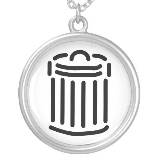 Símbolo negro del bote de basura joyeria