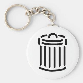 Símbolo negro del bote de basura llaveros personalizados