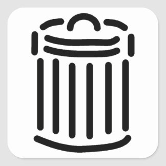 Símbolo negro del bote de basura colcomanias cuadradass