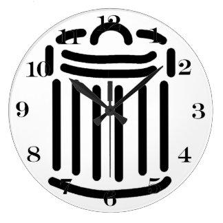 Símbolo negro del bote de basura relojes de pared
