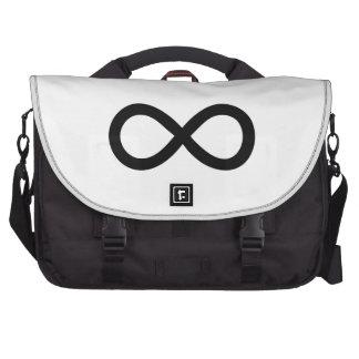 Símbolo negro del infinito bolsas para ordenador