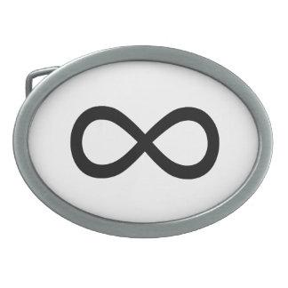Símbolo negro del infinito hebilla cinturón oval