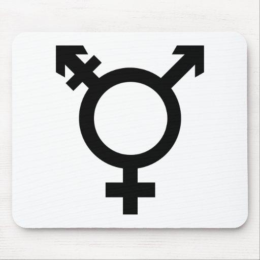 Símbolo negro del transexual alfombrillas de ratón
