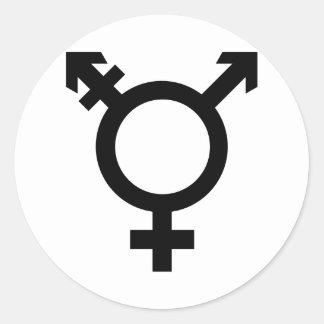Símbolo negro del transexual pegatina redonda