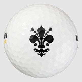 Símbolo negro elegante de la flor de lis pack de pelotas de golf