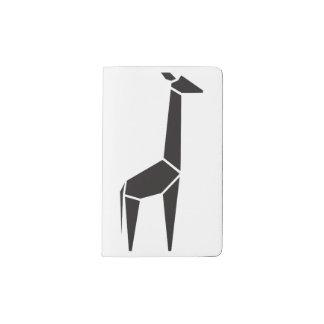 Símbolo negro moderno de la jirafa funda para libreta y libreta pequeña moleskine