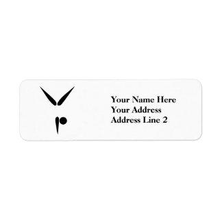 Símbolo negro simple de la gimnasia del gimnasta d etiqueta de remitente