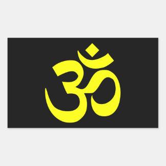 Símbolo negro y amarillo de OM Pegatina Rectangular
