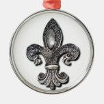 Símbolo New Orleans de la flor de lis de Flor De Adorno Navideño Redondo De Metal