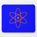 Símbolo nuclear azul y anaranjado mouse pads