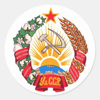 Símbolo oficial de la heráldica de Uzbekistán del Pegatinas Redondas