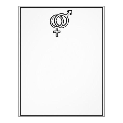 Símbolo para el varón y la hembra membrete