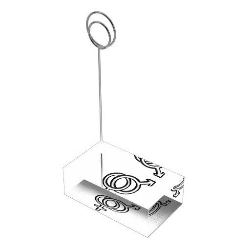 Símbolo para el varón y la hembra soporte para tarjeta de mesa