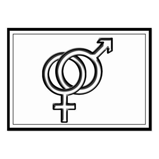 Símbolo para el varón y la hembra tarjetas de visita grandes