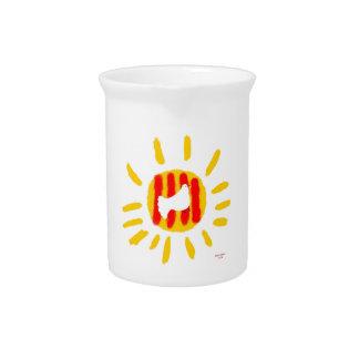 Símbolo patriótico, sol de la libertad de Cataluña Jarras Para Bebida