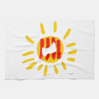 Símbolo patriótico, sol de la libertad de Cataluña Toallas De Mano