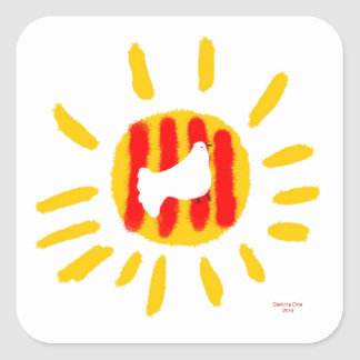 Símbolo patriótico, sol de la libertad de Cataluña Pegatina Cuadrada
