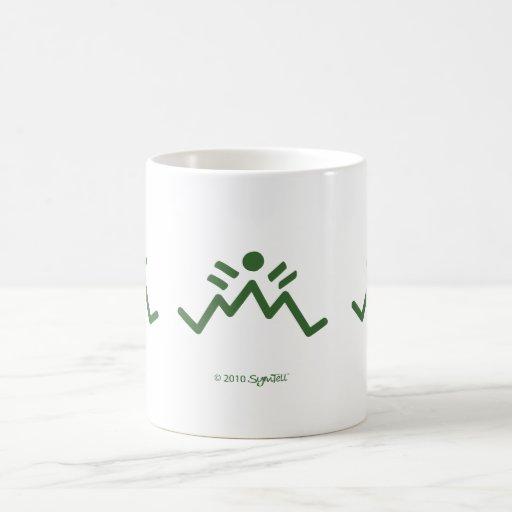 Símbolo pesimista verde de SymTell Taza Básica Blanca