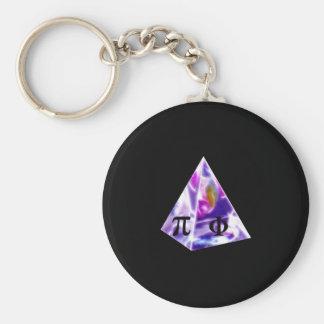 Símbolo pi de la pirámide y la ración de oro llaveros personalizados