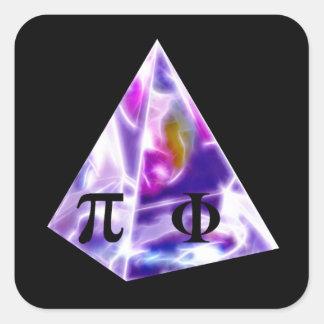 Símbolo pi de la pirámide y la ración de oro pegatina cuadrada