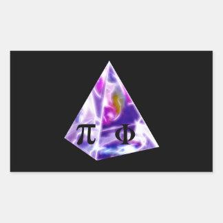 Símbolo pi de la pirámide y la ración de oro pegatina rectangular