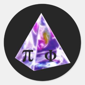Símbolo pi de la pirámide y la ración de oro pegatina redonda