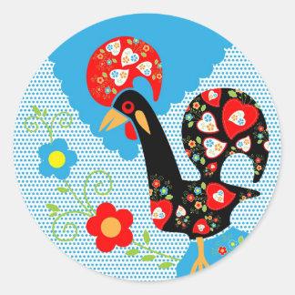 Símbolo portugués del gallo de Portugal Pegatina Redonda