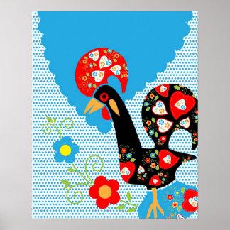 Símbolo portugués del gallo póster