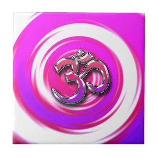 Símbolo psicodélico de la yoga del estilo del Hipp Azulejo Cuadrado Pequeño